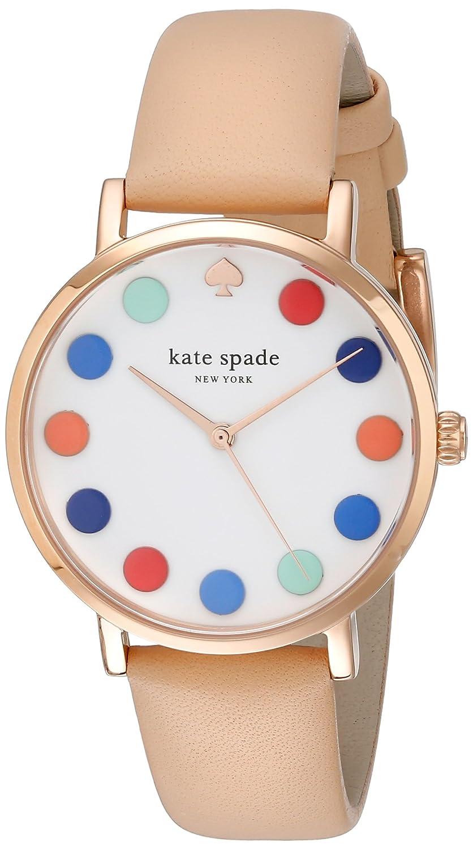 Kate Spade Damen-Armbanduhr 34mm Armband Leder Braun GehÄuse Edelstahl Quarz Zifferblatt Weiß 1YRU0735