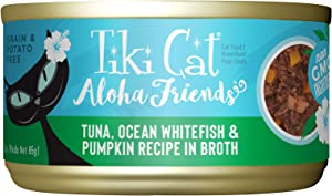 Tiki Cat Aloha Friends Grain-Free, Low-Carbohydrate Wet Food with Flaked Tuna for Adult Cats & Kittens, 3oz, 12 cans, Tuna, Whitefish & Pumpkin