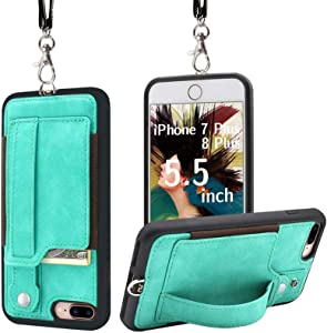 TOOVREN iPhone 8 Plus Wallet Case, iPhone 7 Plus Case Necklace Lanyard iPhone 8 Plus case with Kickstand iPhone 7 Plus Case with Card Holder, Detachable iPhone Case with Strap for Anti-Lost Aqua