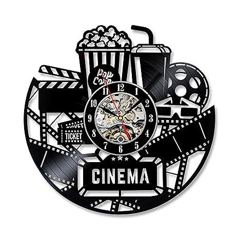 Amazon.com: Shinestore Home Theater Cinema Vinyl Record Wall Clock ...