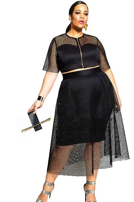 5cf876e3fad New Plus Size Ladies 2 Piece Black Jumbo Mesh Crop Top Skirt Set Midi Skirt  Set Party Club Wear Size XXL UK 14-16 EU 42-44  Amazon.co.uk  DIY   Tools