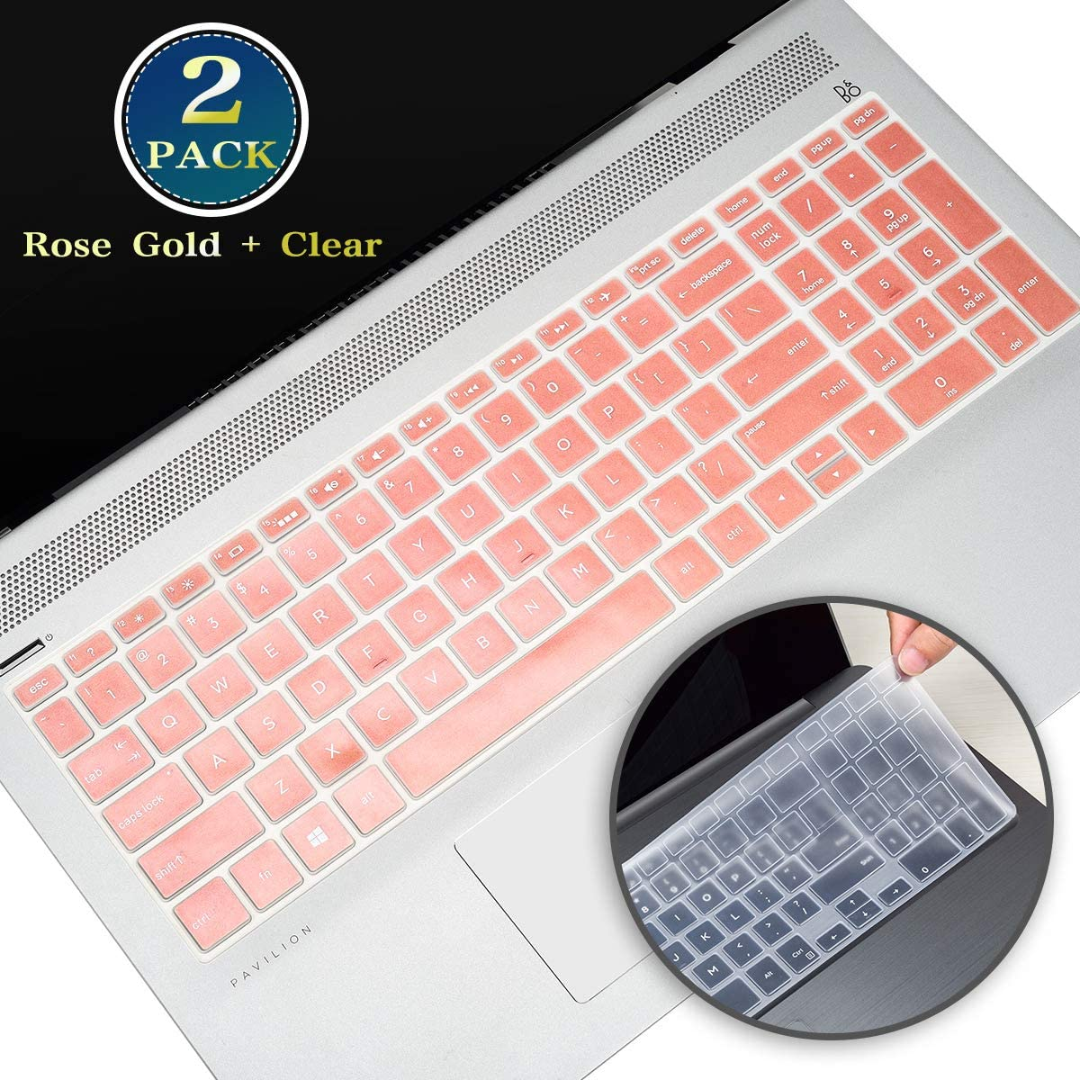 for HP Envy 15.6 Keyboard Cover 2020, Silicone Keyboard Skin for HP Pavilion 15.6/HP Pavilion 15 Series, HP Envy x360 15.6 17.3 Series,HP Spectre x360 15-ch(Rose Gold+Clear)