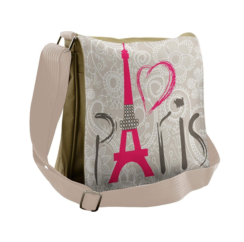 Lunarable Eiffel Tower Messenger Bag, I Love Paris Lettering, Unisex Cross-body