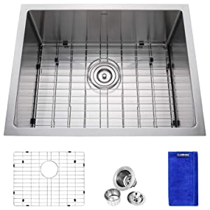 Enbol SD2318, 23 Inch Undermount Small Single Bowl Premium T304 16 Gauge Stainless Steel Kitchen Bar Sink, Round Corner Easy Clean, With Protective Bottom Grid and Strainer