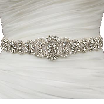 ShinyBeauty Wedding Dress Rhinestone Applique Bridal Sash DIY Dressing Belt Ivory White