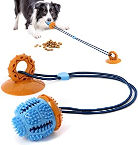 EASYA Dog Multifunction Rope Puzzle Toys/ Chew Suction Cup Tug of War Toy with Teeth Cleaning and Food Dispensing Features /Toy for Small Medium Pets and Large Aggressive Chewers