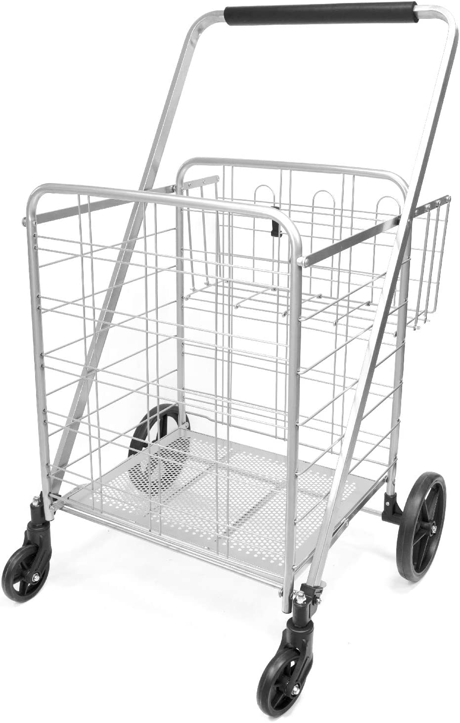 Luggage Grocery Supenice Jumbo Shopping Cart with Double Basket Grocery Cart 160 lbs Capacity Deluxe Folding Shopping Cart 360/°Rolling Swivel Bearing Wheels Super Loading Utility Cart for Laundry