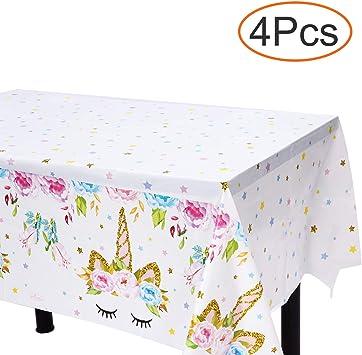 Amazon.com: Mantel de plástico de unicornio – 4 unidades ...