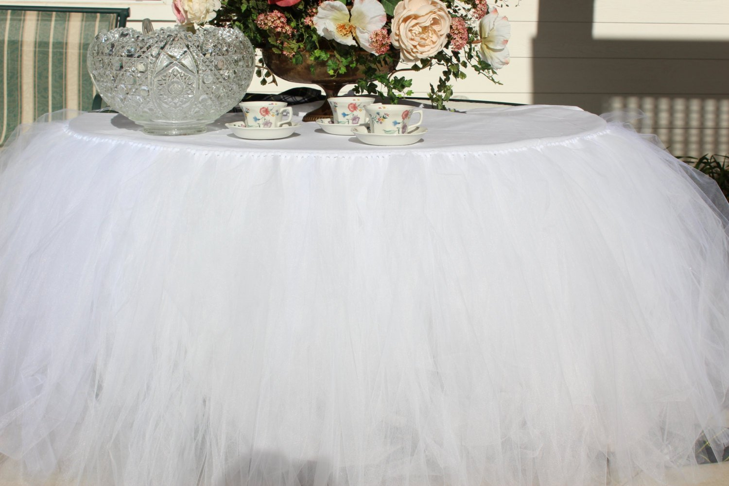 Handmade TUTU Table Skirt Tulle Tableware for Baby Shower Birthday Party Wedding Even Cake Table Girl Princess Decoration(White)