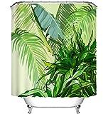 LB Piante tropicali,foglie di palma,verde_Tenda doccia resistente all'acqua tessuto in poliestere tende da bagno,150W * 180H CM