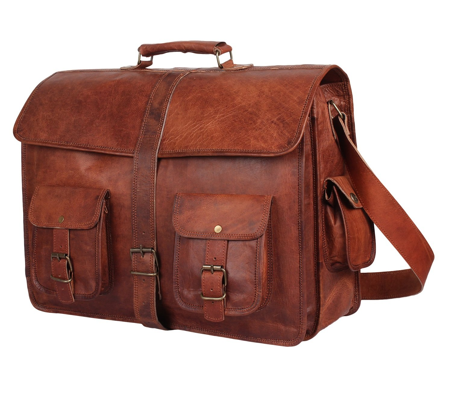 Genuine Leather Messenger Bag for Men - Computer Satchal By Rustic Town (Style 1)