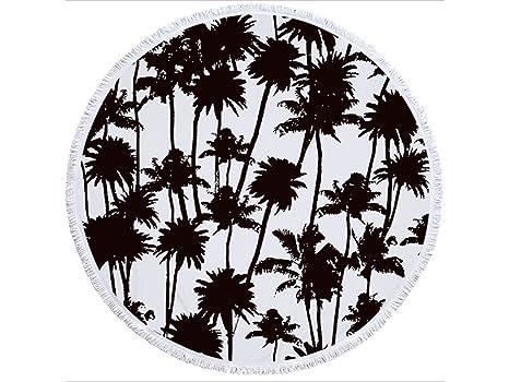 kxrzu Gracioso Patrones de árboles en blanco y negro Impreso Ronda toalla de playa con borlas