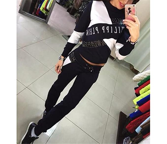 Amazon.com: Sudaderas Mujer New Womens Casual Tops Sweatshirt Pants Track Sweat Suits 2 Pcs Tracksuit Plus Size 2XL: Clothing