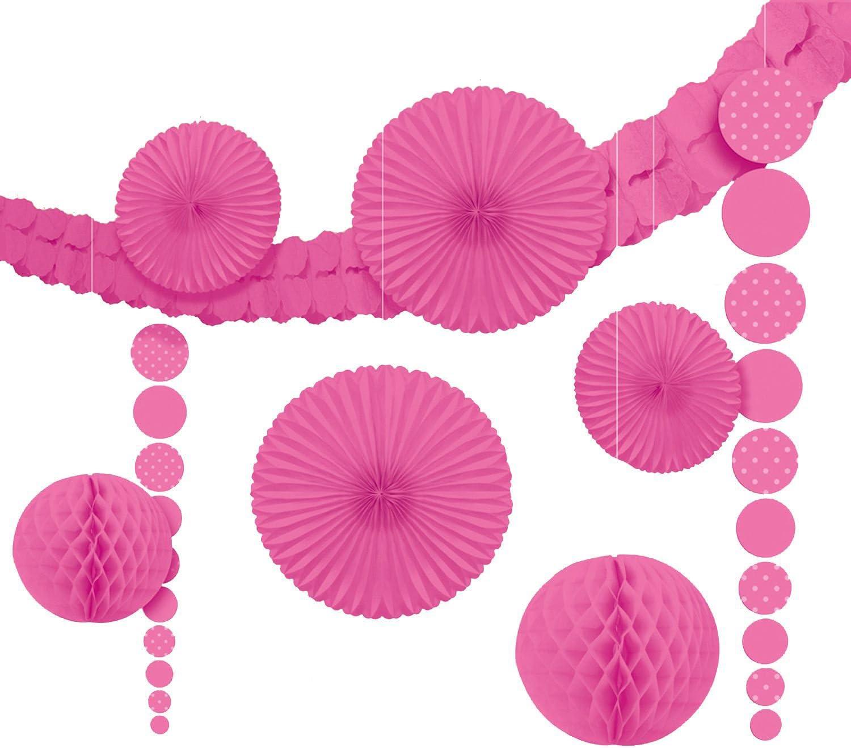amscan - Kit de Adornos para Fiesta, diseño de círculos, Color Rosa