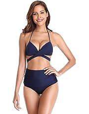 SHEKINI Trajes de baño para Mujer Cintura Alta Partes de Abajo Acolchadas Halter Vendaje Acolchado Fijo Bikini Trajes de baño de Dos Piezas