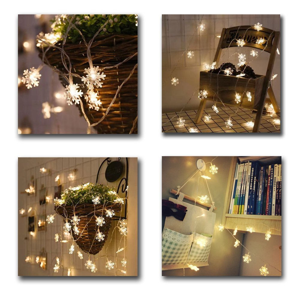 Snow Flakes Led String Fairy Light For Xmas Party Home Wedding Decorationsb size 6m 40LED (warm white)