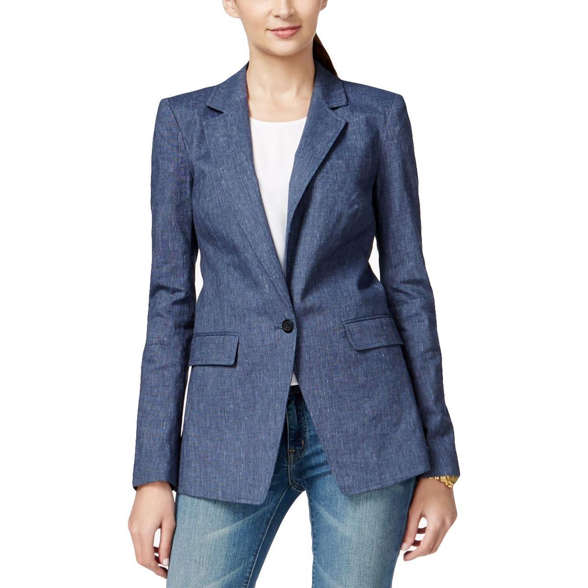 MICHAEL Michael Kors Womens Linen Blend Notched Collar Boyfriend Blazer Blue 22W
