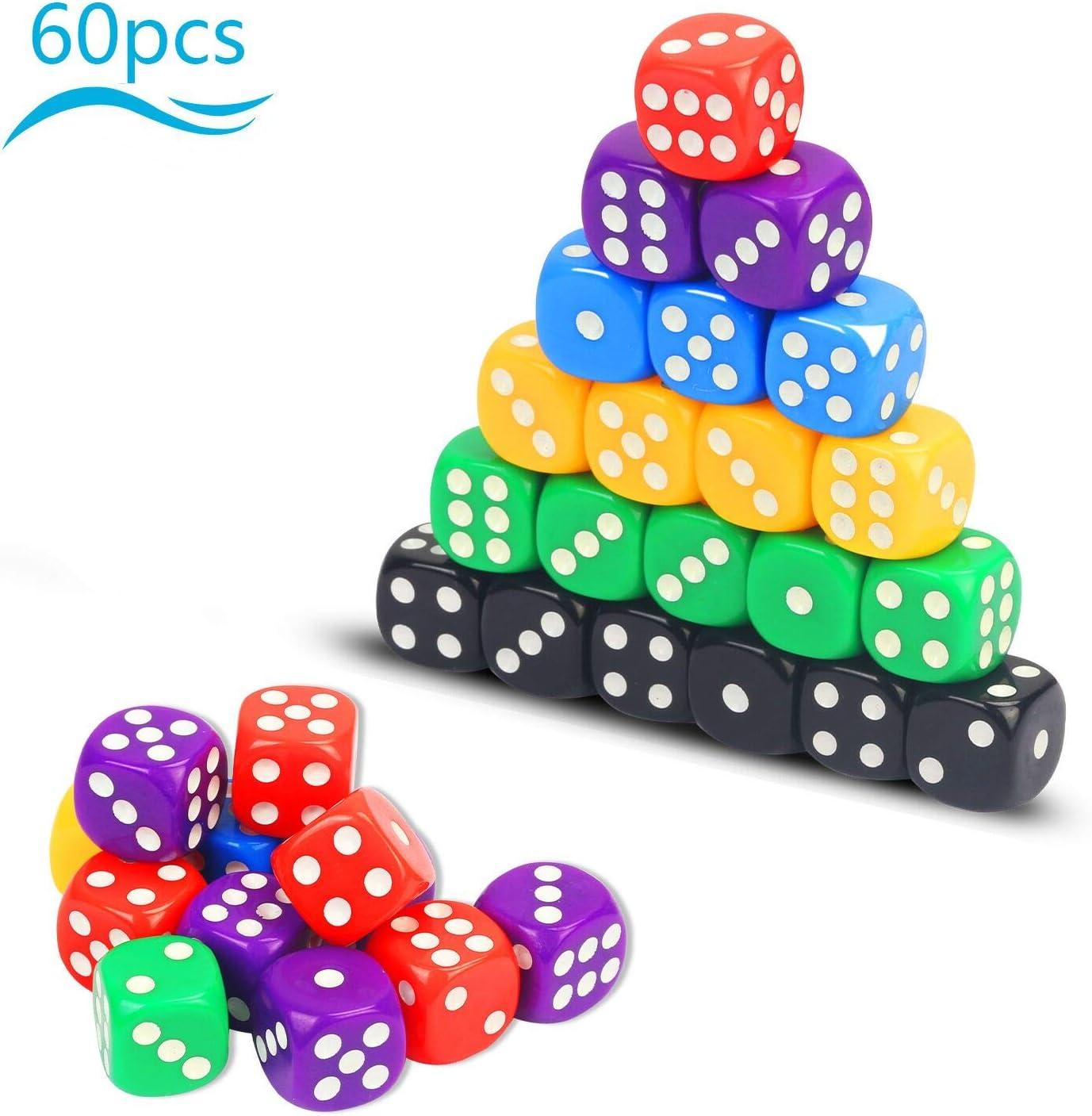 Dados multicolor KATOOM 60pcs Dado de acrílico con seis colores y seis caras para juego de dado y cartas en fiestas y bares con amigo y familias para divertirse en vacaciones probilidad de matemática