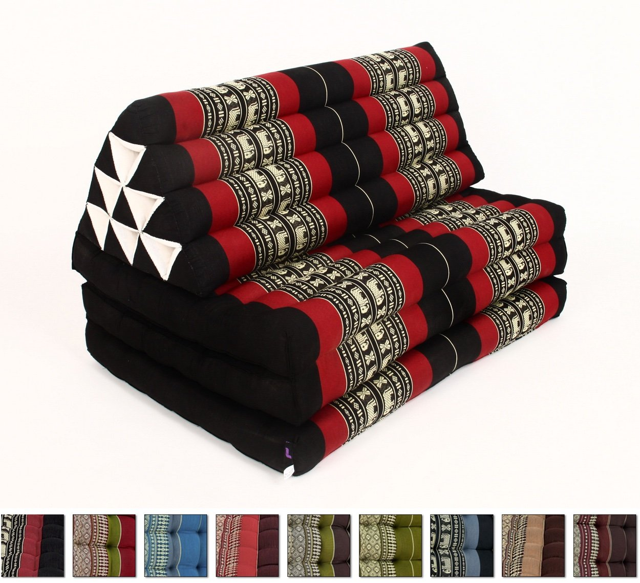 Leewadee XL Foldout Triangle Thai Cushion, 79x30x3 inches, Kapok Fabric, Black Red, Premium Double Stitched