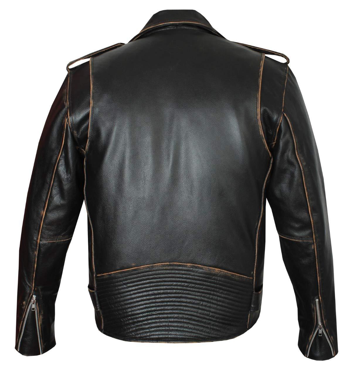 JET Giacca Moto Pelle Uomo con Protezioni Vintage Iconico Retr/ò Classico BRANDO Nero normale, S