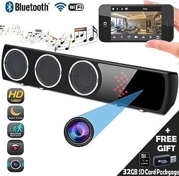 HD 1080P WiFi Spy Camera Bluetooth Speaker Wireless Hidden Camera Music Player