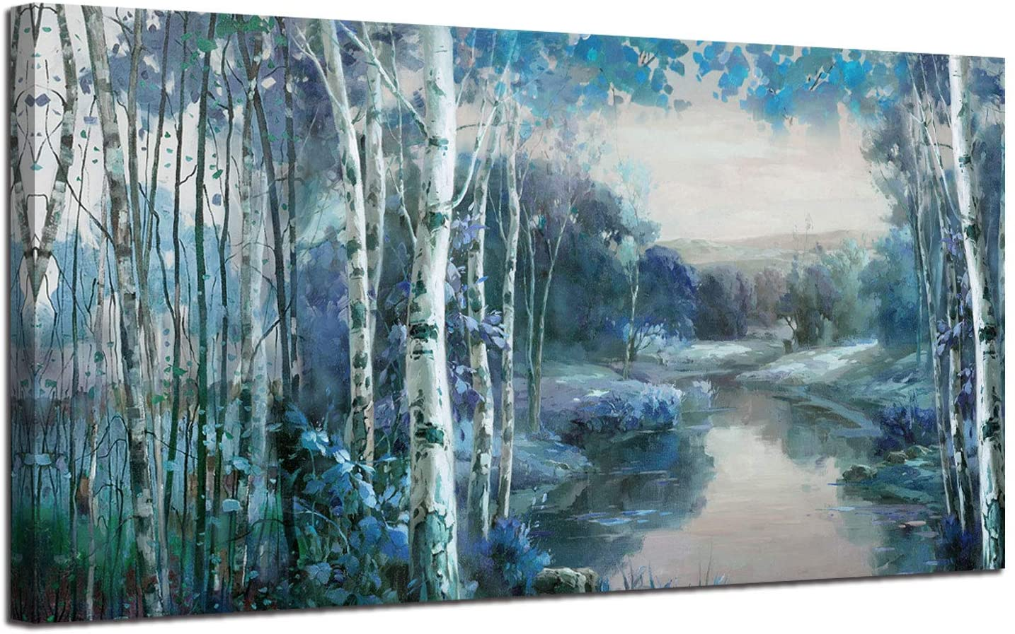 "Canvas Wall Art Blue Landscape Painting Nature Forest Teal Mountain River Picture, Rustic Birch Tree One Panel 60""x30"" Large Artwork Prints Framed for Living Room Bedroom Home Office Wall Décor"