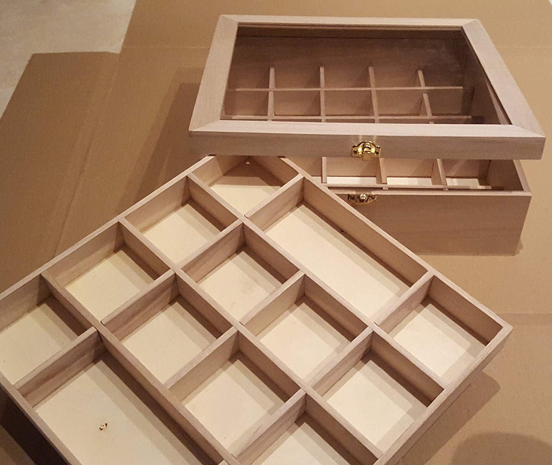 finitions de grande qualit/é Caisse en bois avec vitrine de 32/x 32/x 10/cm et intercalaires de double hauteur Bois Naturel