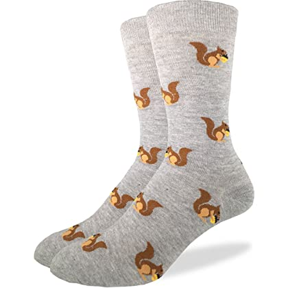 Good Luck Sock Mens Squirrels Crew SocksGreyShoe 7 12
