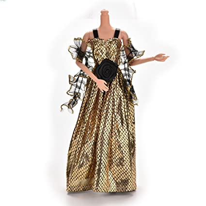 Buy iDream® Elegant Golden Handmade Party Doll Dress Gown Compatible ...