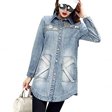 M~2XL Vintage Long Denim Jacket Women Autumn BF Style Long Sleeve Jaquetas Feminino Streetwear