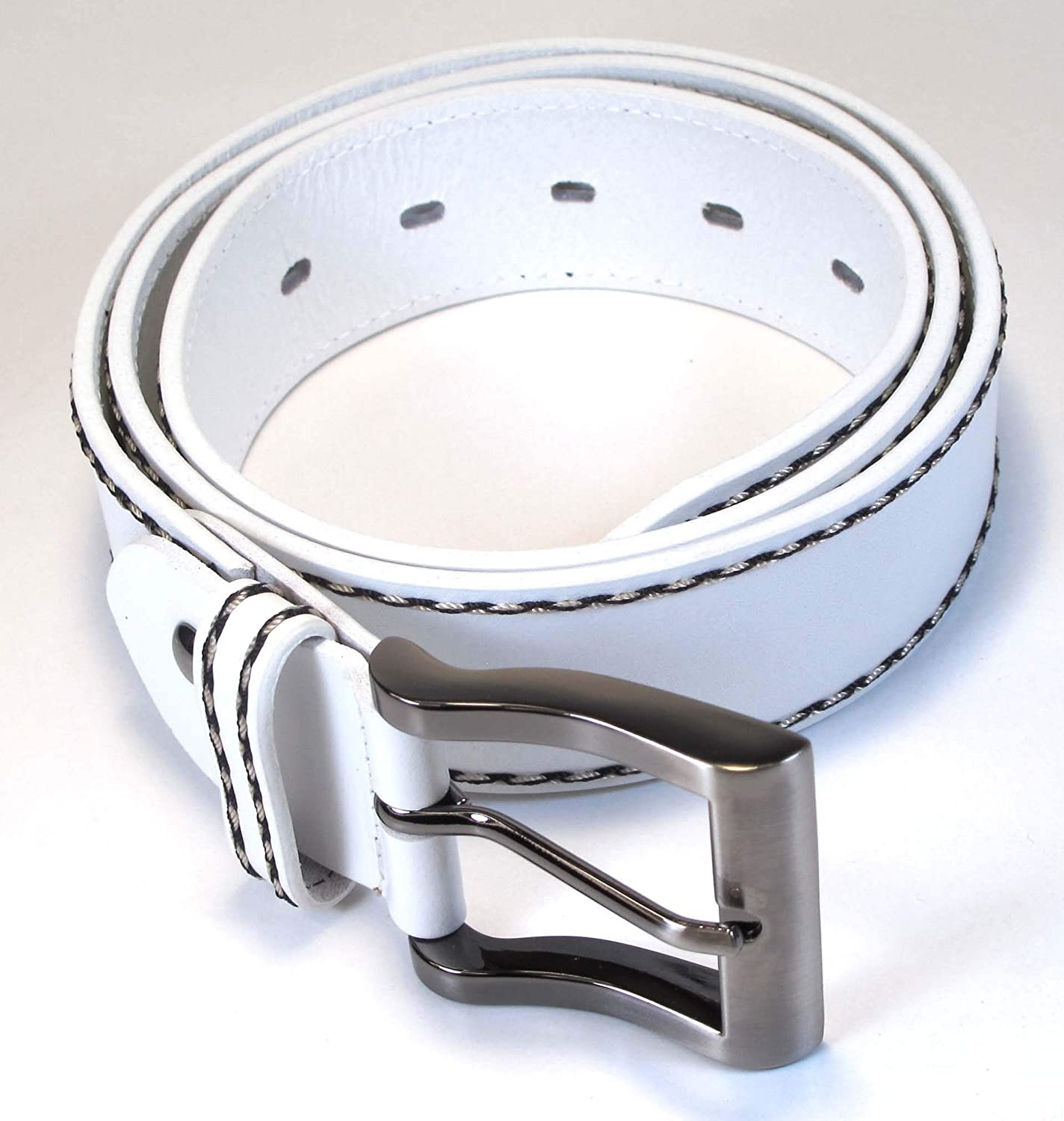 Mens Real Genuine Leather White Belt 1.5 Wide S-XL Thick Long Casual Jeans CM0