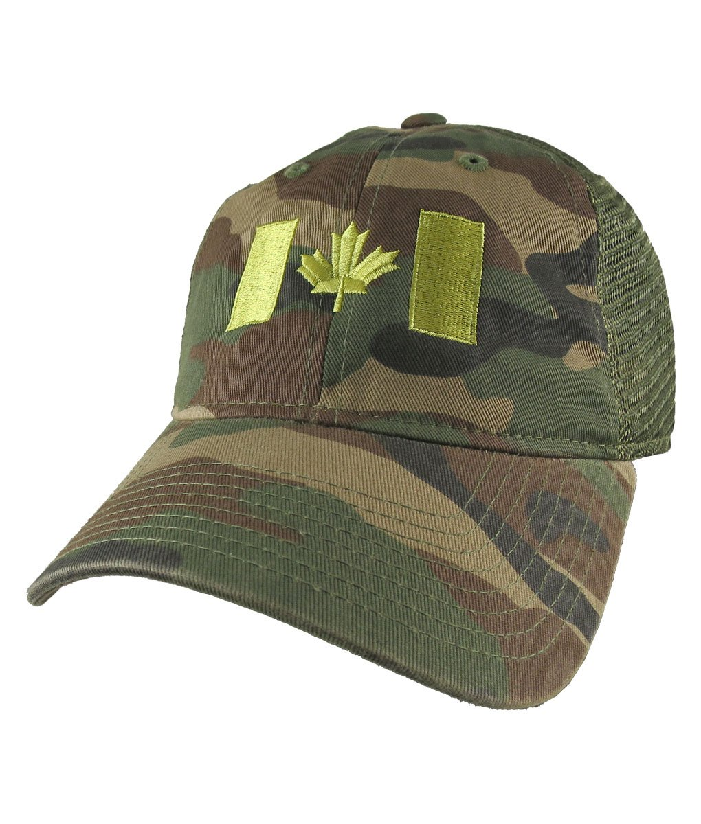 Canadian Flag Lime Green Embroidery on a Woodland Camouflage Unstructured Adjustable Classic Trucker Style Cap in Khaki green Back Mesh