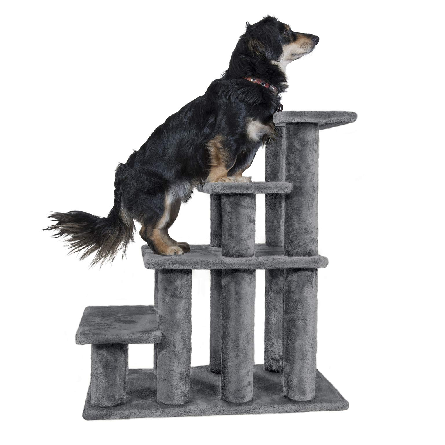 Furhaven Pet Stairs   Steady Paws Easy Multi-Step Pet Stairs Assist Ramp for Dogs & Cats, Gray, 4-Step by Furhaven