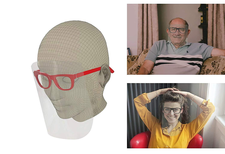 Pantalla Facial Protectora con Gafas para adultos | Pantalla de rostro completo con protección para ojos y cabeza (Negro-blanco)