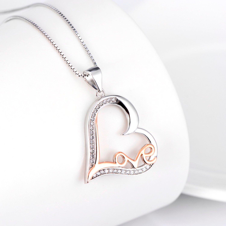 CS-DB Crystal Love Heart Pendants Silver Charming Pendants Silver Necklaces