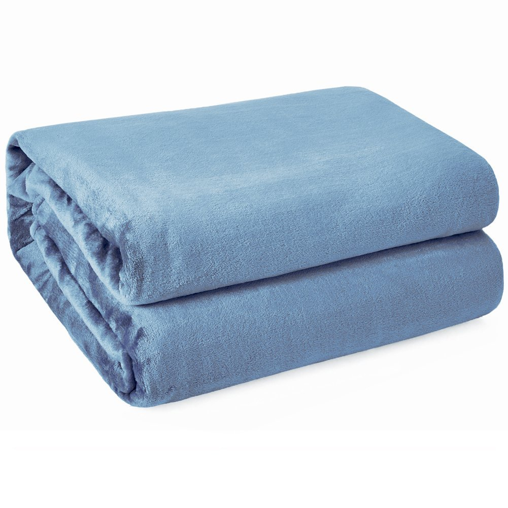Kawahome Twin Flannel - Washed Blue Fleece Luxury Blanket, Super Soft Plush Microfiber Solid Fabric, Cozy Fuzzy Blanket for Bed, Lightweight Couch/Sofa Blanket, Easy Care, (66 x 90 Inch)