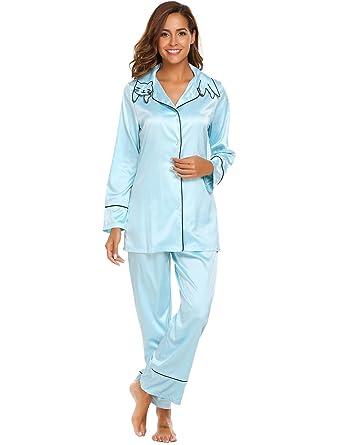 Etuoji Womens Long Sleeve Pyjama Sets EmbroideryTurn-down Collar PJ Set Top & Pantst