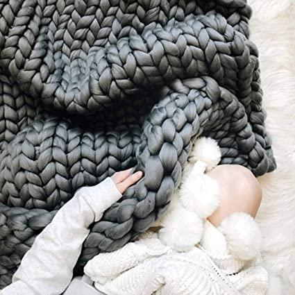 Chunky Giant Knit Thick Yarn Blanket Bulky Knit, Extreme knitting Knitted  Pet Bed Chair Sofa Yoga Mat Rug (40 x 60 inches- Standard Blanket, graphite)