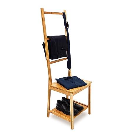 Relaxdays - Silla galán para Dejar la Ropa, de bambú, 133 x 40 x 42 cm, con 2 estantes de Madera para Ropa con 3 Barras, Ideal para Habitaciones ...