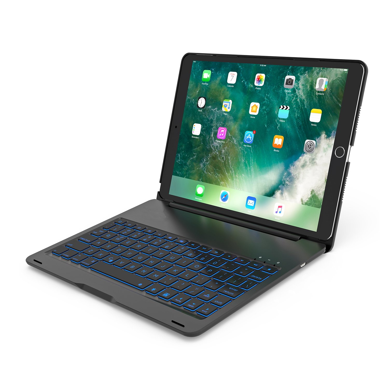 iPad Pro 10.5 Case With Keyboard,7 Colors Led Backlit,Wireless Bluetooth Folio Keyboard Hard Shell Cover -Ultra Slim,Portable,Protective&Aluminum Alloy Material(Black)