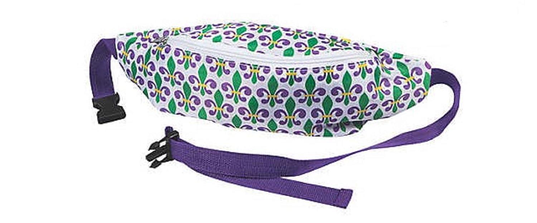 Mardi Gras FLEUR DE LIS Fanny Pack New Orleans NOLA Purple Green Gold Parade wear Purse