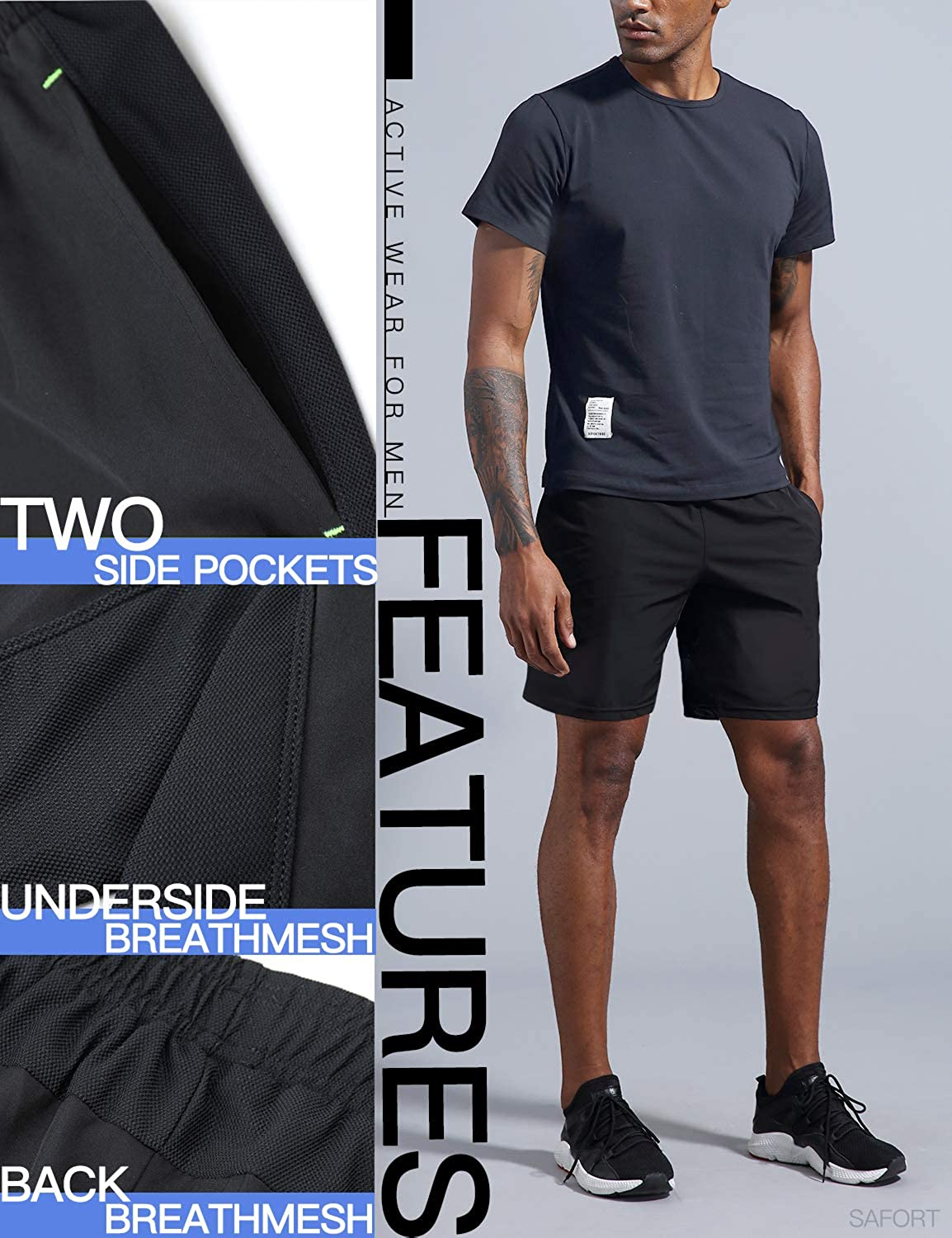 Safort 3//5//7//8//10//12 Athletic Shorts for Men with 2//4 Pockets Training Workout Sport Shorts for Running