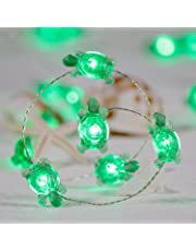 Impress Life Turtle String Lights, Green Decorative LED Silver Wire 10 ft 40 LEDs with Remote for Indoor, Covered Outdoor, Beach Party Decorations, Summer Holiday, Tent Wedding, Birthday, Bedroom