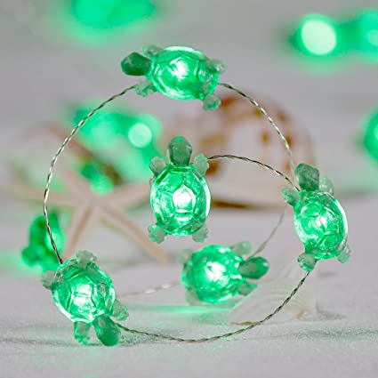 Impress Life Turtle String Lights Green Decorative LED Silver Wire 10 Ft 40 LEDs With