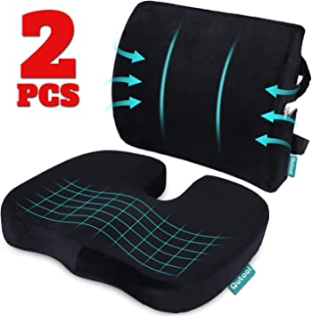 Memory Foam Seat and Back Support Cushion with Coccyx Cut Out