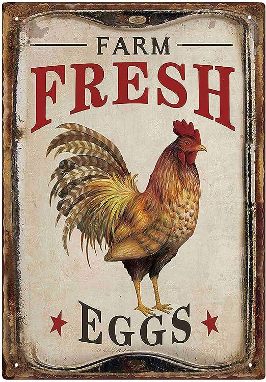 Gorgeous Rustic Retro//Vintage Metal Farm Fresh Eggs Chicken Country Memo Board