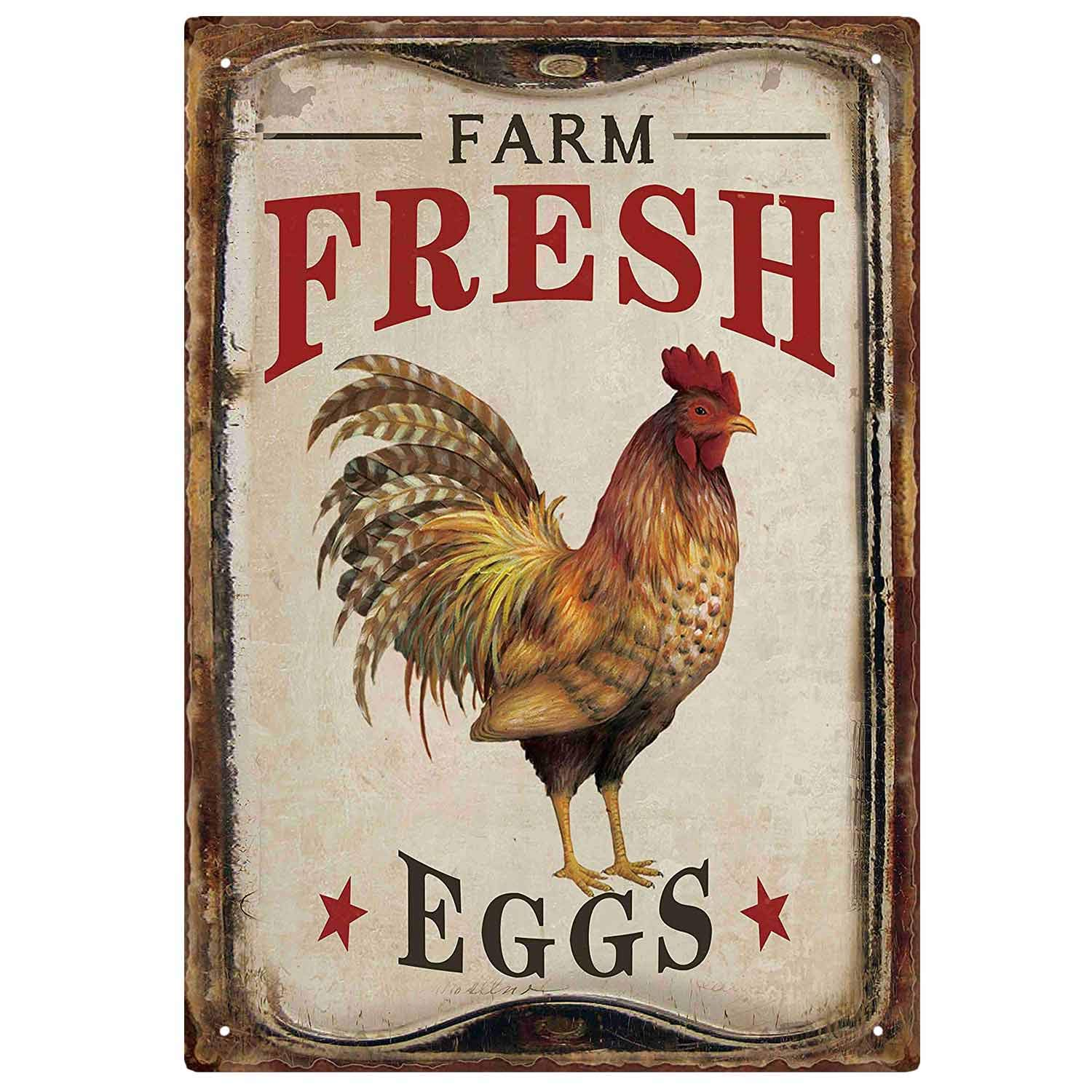 M-Mount Tin Signs Vintage Designs Farm Fresh Organic Eggs Retro Bar Sign Country Home Decor Wall Decor Indoors Metal Coffee Art Poster 8x12Inch