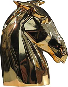 LARTISO DECO Home Decor Creative Modern Style Art Sense Horse Head Decoration Metal Industrial Style Animal Decoration Sculpture Craft Resin Decoration,Gold