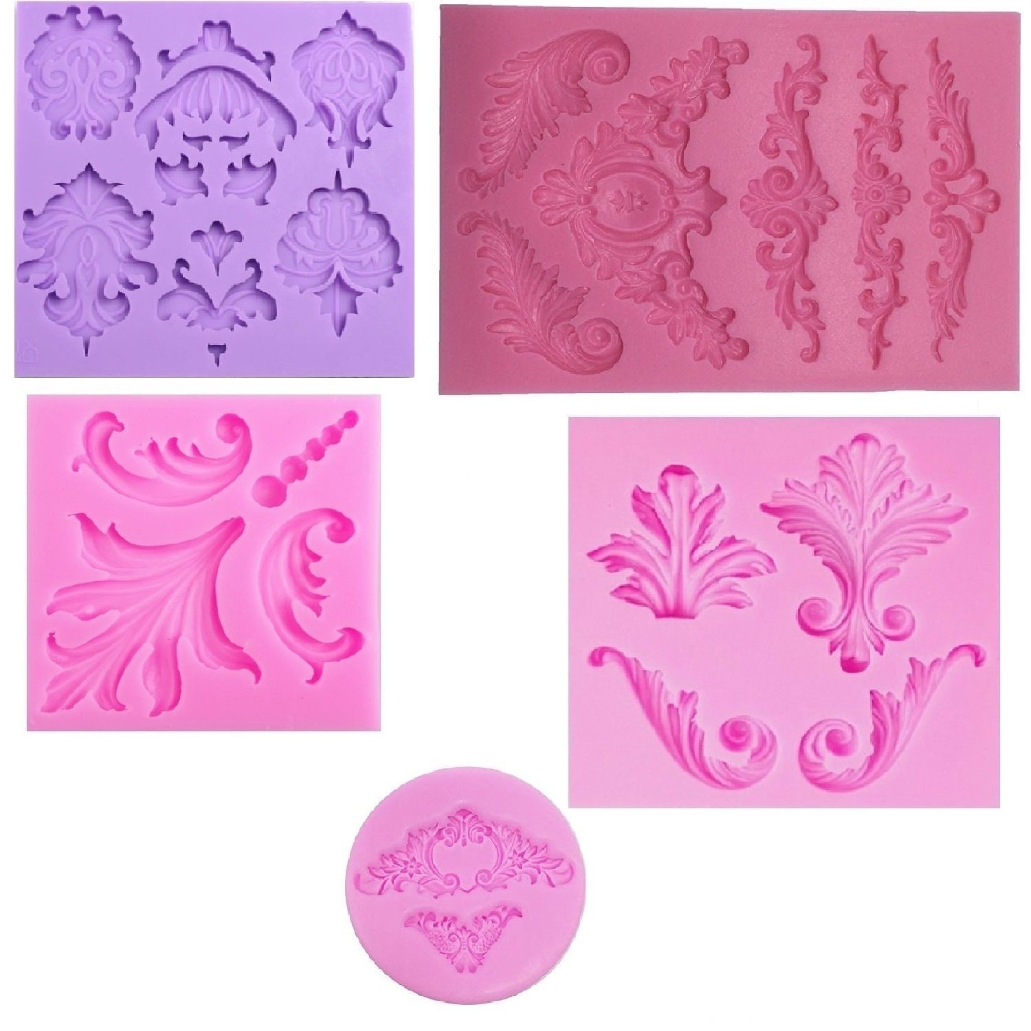 PalkSky Baroque Style Curlicues Scroll Lace Fondant Silicone Mold for Sugarcraft, Cake Border Decoration, Cupcake Topper, Jewelry, Polymer Clay, Crafting Projects, 5 in Set 4336842623