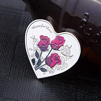 "52 languages /""I Love You/"" Rose Flower Heart Shape  Commemorative Coin"